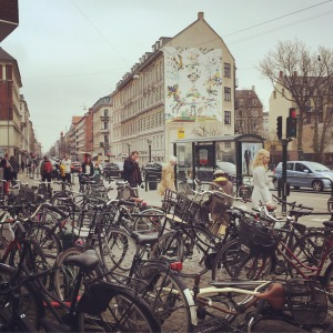 image of Copenhagen street and a bicycle parking area