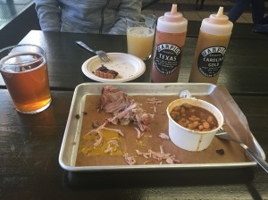 plate of BBQ pork and beans