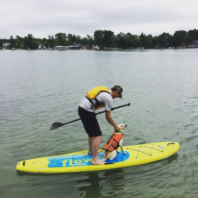 man petting a dog while they both stand on a paddleboard
