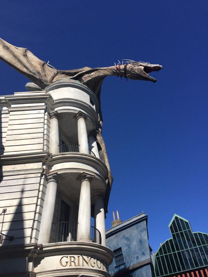 a dragon sits atop Gringotts Bank