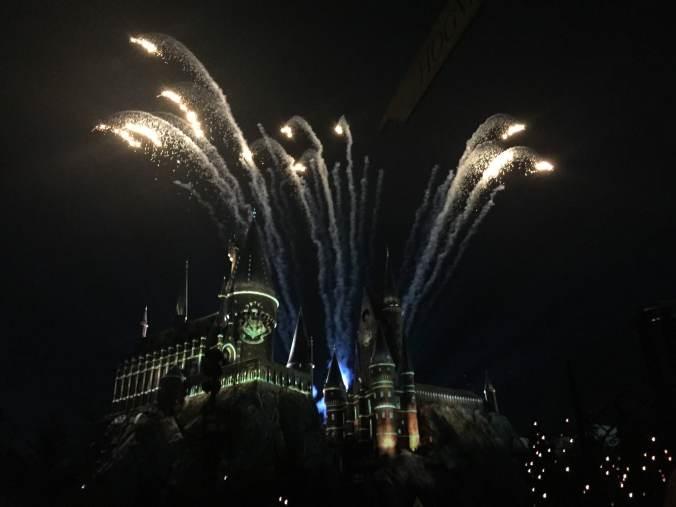 the light show at Hogwarts Castle